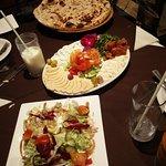Mezze, Naan bread and salad