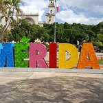 Merida sign in the Plaza Grande