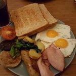Full Irish Breakfast w/breakfast bagel in background