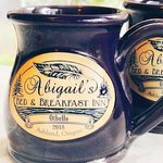 Our new personalized Deneen Pottery Mugs - a gift souvenir of your vacation here in Ashland, Ore