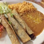 Shredded Beef Flautas with Rice and Beans