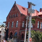 The old Customs House with a sculpture that has a mate in San Diego.