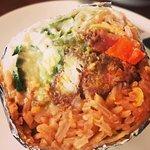 California Burrito - Sour Cream, Guacamole, fried chicken, Mexican rice YUM