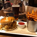 Conch burger, sweet potato fries and a Newcastle Brown.