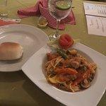 Spaghetti with pasta sauce, veggies, & mushrooms. Delicious