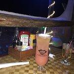 Menu, my rum runner cocktail, my Caesar salad and my jambalaya