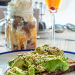 Smashed Avocado & Feta on toast, Banoffee Sundae, Strawberry Bellini