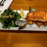 Salmon with kumara wedges, mussels