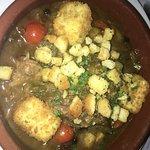 slow cooked Sardinian goat with polenta dumplings