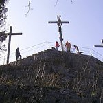 The three crosses at the top of the Kalvarienberg