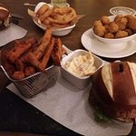 delicious home made burgers, Gower lamb and Feta as well as Brisket beef with sweet potato fries