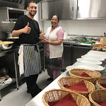 Kurpal and his mum cooking in our kitchen, close to service