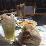 Lo Zozzo Sandwich & Pineapple Juice, We ate most of the fried Plantains!