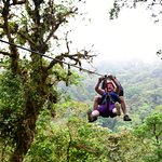 Zip lining through the cloud forest