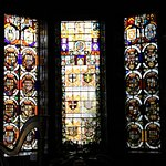 Stained glass windows in drawing room
