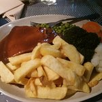 home made Black Angus Beef Steak Pie chips veg and Gravy