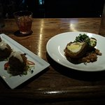 Beer Battered Crab & Chorizo Beignets and Boudin Scotch Egg
