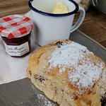I had a scone with clotted cream and a latte, the scone was served warm and was so delicious. St