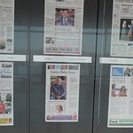 Front pages of daily newspapers, one from each state, some countries.