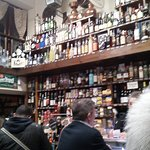 Quimet-Quimet bar (and the bottles are all round the walls just like this.