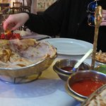 Lovely naan and curries with the vegan option
