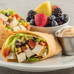 Santa Fe chicken wrap with fresh fruit from Café at the Meadows.