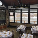 our lakeside dining room set up for a wedding