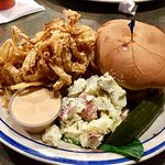 Pig Squealin' Combo (pulled pork sandwich with onion rings and potato salad)
