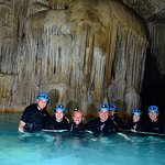 Our party of 6 with Mateo (tour guide) with stalagtites