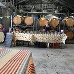 Stalls inside the barrel room