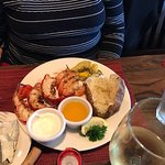 3 Lobster tails, 7 shrimp, veggies and baked potato