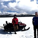 Out for a sled ride and snowshoe on Fish Lake.