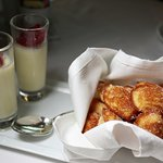 Freshly baked madeleines with cream of lavender and sweet tapioca