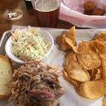 Workers Lunch Pork meal, Booneshine Beer.