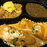 Carry out: Chipotle Chicken Enchiladas w/refried beans, rice, sweet corn tamalito