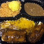 Carry out: Tamales, Enchilada w/refried beans, rice, sweet corn tamalito