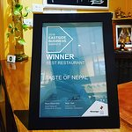 """Thank you for your support. We were the winner of the """"Best Restaurant Award"""""""