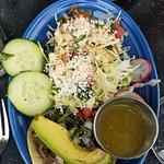 Churro, horchata, damn best tacos I've eaten! (Carne asada and grilled shrimp)