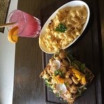Lunch - open faced shrimp sandwich and mac and cheese