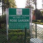 rose garden information board at entry gate