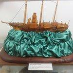 Ship sculpted in kauri gum