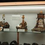 Lighthouse models made of kauri gum