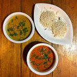 malabar chicken (yellow curry), nellori mushrooms (red curry)