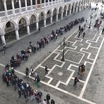 View of the queue from the Basilica museum balcony
