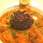 Thai red curry with monkfish & ling, sticky black coriander rice