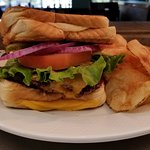 Grilled Cheese Cheeseburger.  Two grilled cheese sandwiches create the bun for this burger.