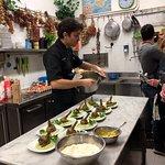 Preparing the artichoke appetizer