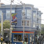 The famous intersection of Haight and Ashbury Streets