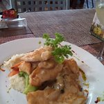 Chicken in a white wine sauce on great mashed potatoes and perfectly cooked vegetables!