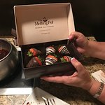 An anniversary present from Melting Pot - six chocolate dipped strawberries. Thank you!